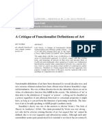 A Critique of Functionalist Definition of Art