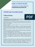 Noticias Del Lunes 07.03.2016