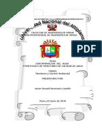 Contaminación Del Agua y Protocolo de Monitoreo de Calidad de Agua