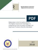 SIGAR Audit Of Afghanistan's Anti-Corruption Efforts
