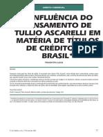 A Influência Do Pensamento de Tullio Ascarelli Em Matéria de Títulos de Crédito (1)