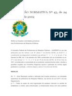 RESOLUÇÃO NORMATIVA Nº 43 funções do Relações Públicas