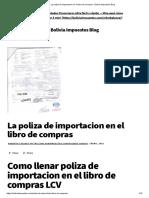 La Poliza de Importacion en El Libro de Compras - Bolivia Impuestos Blog