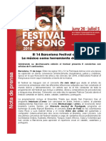 Nota de prensa del 14 Barcelona Festival of Song 2018