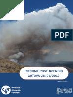 Informe post incendio forestal Gátova 28/06/2017