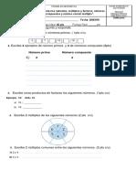 Evaluación matematica 6° con adecuación