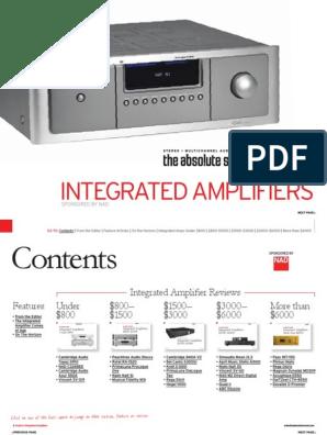 Tas Bg Integrated Amps 2010 Pdf Amplifier Sound Technology