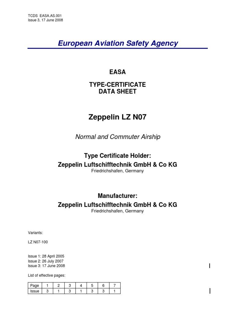 Easa Zeppelinnt Lz N07 100 Type Certificate Airship Zeppelin