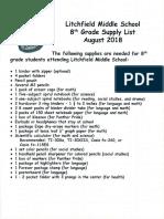 team 8 supply list