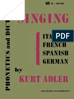 K Adler Phonetics And Diction In Singing 1967 Vowel