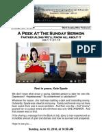Pastor Bill Kren's Newsletter - June 10, 2018