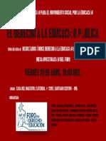 1ra sesión Formación Foro por el Derecho a la Educación, 20 de abril (Casa del Maestro)