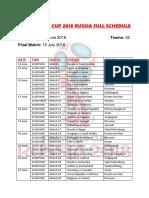 2018 FIFA World Cup Fixtures