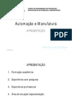 Automac3a7c3a3o de Processos de Manufatura Apresentac3a7c3a3o