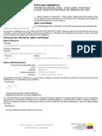 Certificado Ambiental La Apuya