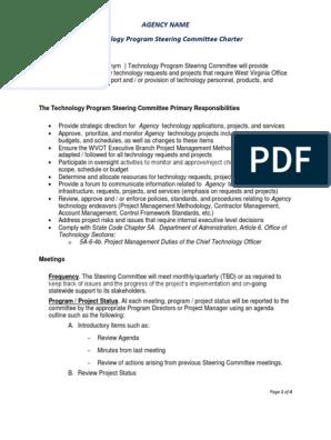 Sample Program Steering Committee Charter Committee Agenda Meeting