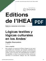 Saberes y memorias en los Andes - Lógic...les en los Andes - Éditions de l'IHEAL