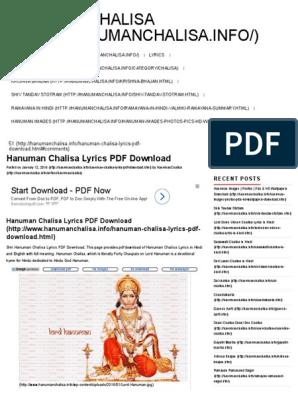 357698943 Hanuman Chalisa Lyrics PDF Download Hanuman