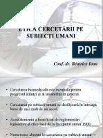 Etica Cercetarii Pe Subiecti Umani