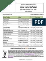 Elk Grove Unified School District Summer Food Service Program schedule