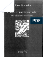 Simondon El Modo de Existencia de Los Objetos Tecnicos