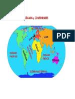 Continentes y Oceano Mapa Mundi