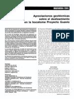 Apreciaciones Geotecnicas Para El Proyecto El Guavio