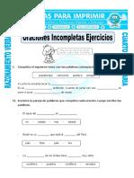 Ficha Oraciones Incompletas Ejercicios Para Cuarto de Primaria