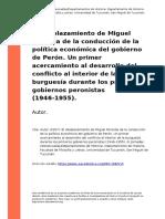 Autor (2007). El Desplazamiento de Miguel Miranda de La Conduccion de La Politica Economica Del Gobierno de Peron. Un Primer Acercamiento (..)