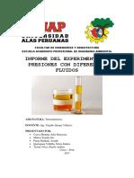 INFORME DEL EXPERIMENTO DE PRESIONES CON DIFERENTES FLUIDOS