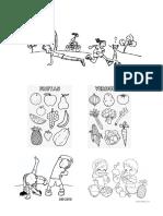 Dibujos de Actividades y Comida Saludable