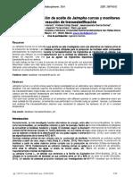 Proceso de extracción de aceite de Jatropha curcas y monitoreo de la reacción de tranesterificación