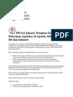 PD IAI Jakarta Tetapkan Imbal Jasa Pekerjaan Apoteker Di Apotek