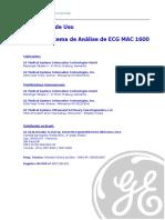 Sistema de Análise de ECG MAC 1600 - Instruções de Uso