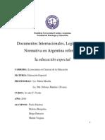 Documentos Internacionales, Legislación y Normativa en Argentina referida a la educación especial