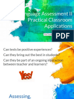 (Language Assessment II Practical Classroom Application) Topic 11