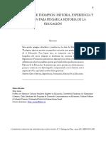 2. Edward Palmer Thompson Historia Experiencia y Formación Para Pensar la Historia de la Educación (Felipe Zurita Garrido).pdf