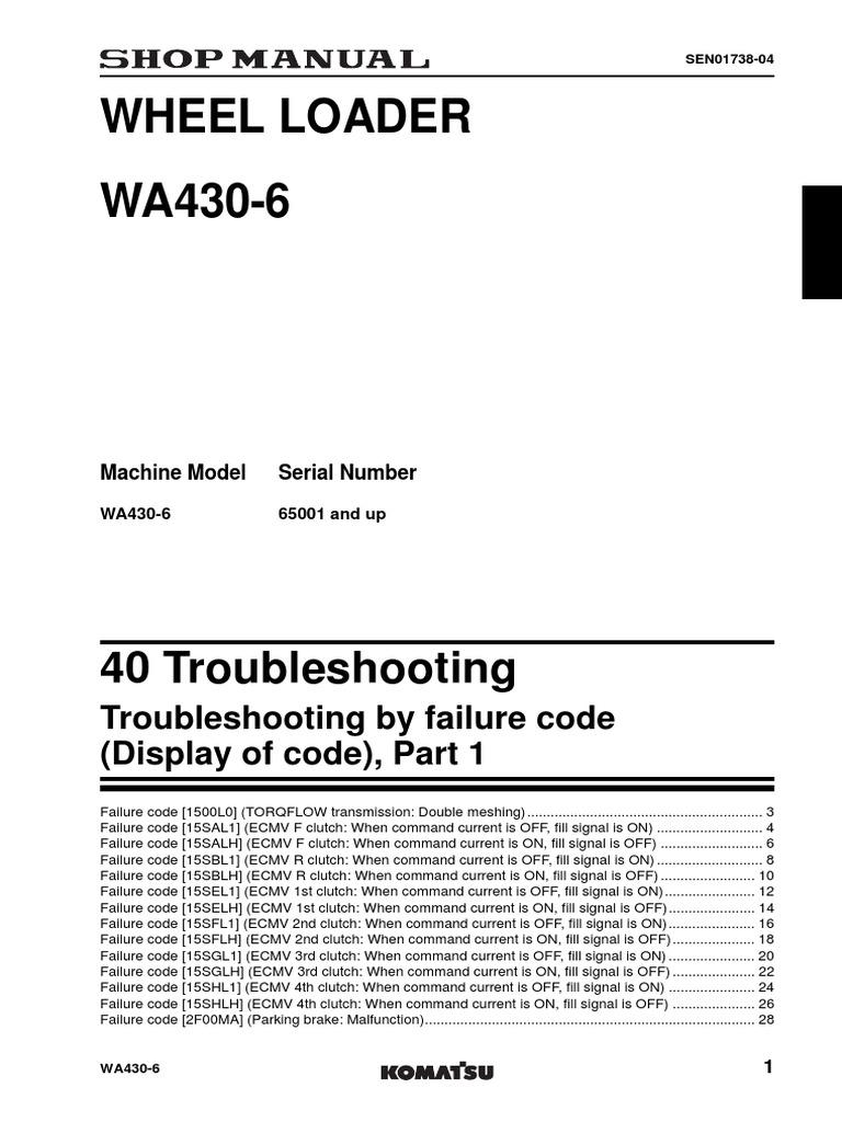 KOMATSU wheel loader WA430-6 manual | Switch | Transmission (Mechanics)