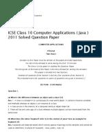 ICSE Class 10 Computer Applications ( Java ) 2011 Solved Question Paper _ ICSE J
