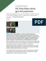 Ante La ONU, Peña Nieto Alerta Sobre Riesgos Del Populismo