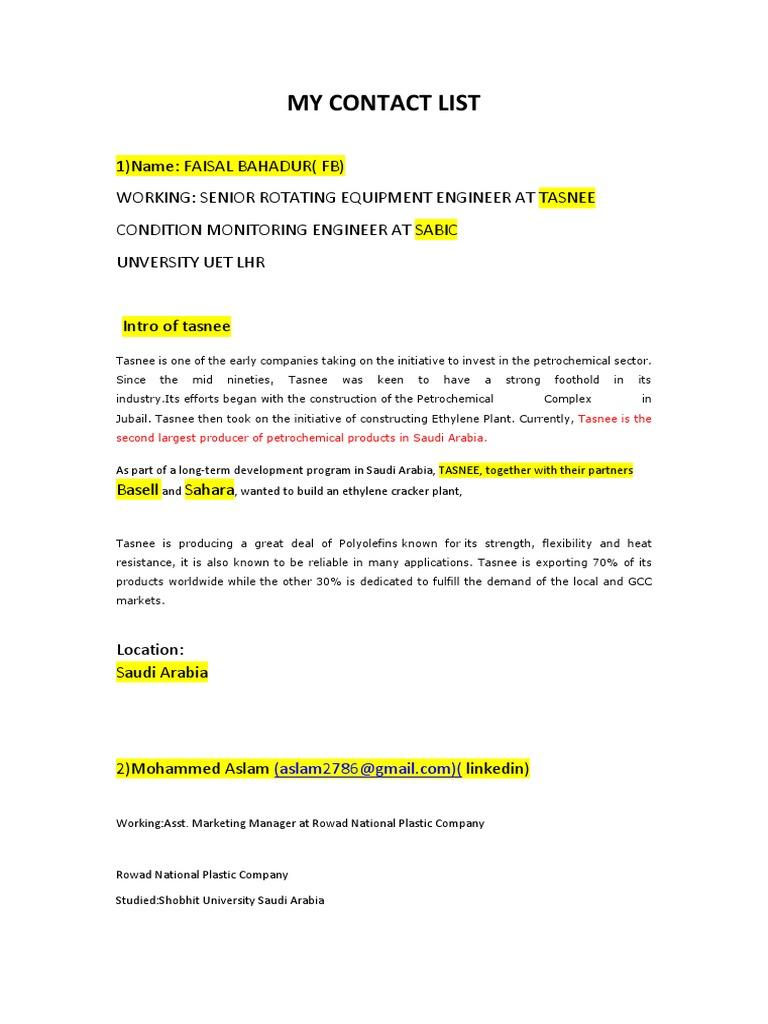 My Contact List Growing | United Arab Emirates | Pakistan