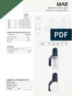 Sylvania MAR Mariner HPS & CFL Wall Light Spec Sheet 1-87