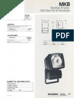 Sylvania MKB MultiKat 'B Series' 1200w PAR64 Floodlight Spec Sheet 3-88