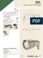 Sylvania SFL Light Weight Tungsten Halogen Floodlight Spec Sheet 5-80