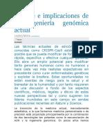 Alcance e Implicaciones de La Ingeniería Genómica Actual