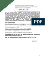 Adv Teaching Post SFS PR-43 of 2018