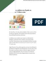 1 de Cada 5 Niños en El País Es Disléxico