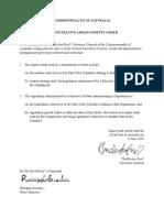 Administrative Arrangements Order 92F062F2018