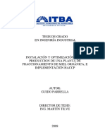 Instalacion y Optimizacion de La Produccion en Una Planta de Fraccionamiento de Miel Organica TESIS ITBA