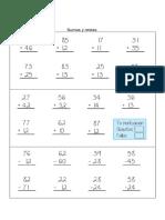 Ejercicios Para El Cuaderno de Sumas y Restas ,Evaluacion de Proceso MATEMATICAS